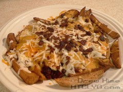 Chili-cheese fries cooked in beef tallow