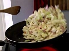 Cabbage sautéed in bacon fat - toss