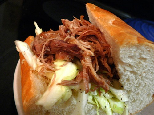 Paninis Coleslaw on a Pulled Pork Sandwich