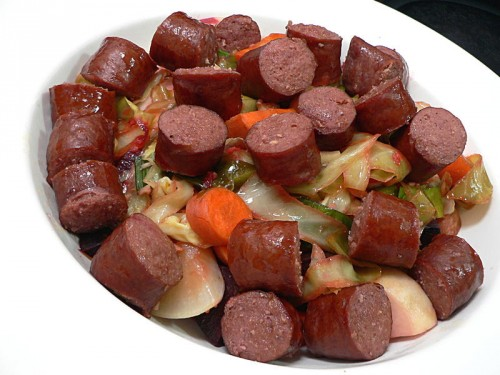 Roasted Root Vegetables with Kielbasa